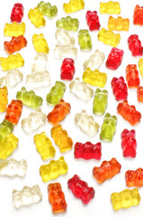 Jelly bears isolated on the white background