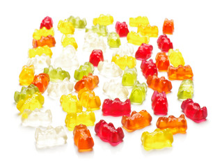 Gummy bear candies isolated on the white background