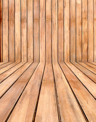 Empty wooden room,interior background,perspective view