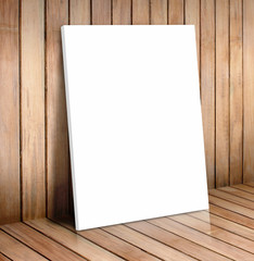 white poster frame in wooden room,mock up for your content