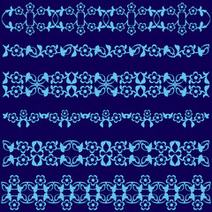 Ottoman motifs blue design series of fifty seven