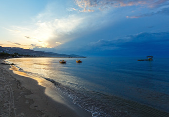 Sunset on beach (Alykes, Zakynthos, Greece)