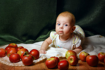 Baby and apple
