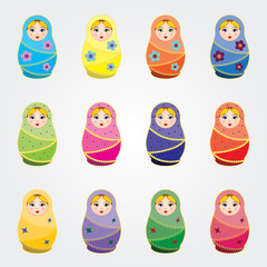 Russian traditional dolls (Matryoshkas) set