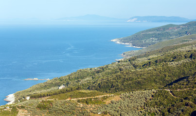 Aegean Sea coastline (near Mylopotamos beach, Greece).