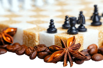 Checkerboard of refined sugar furred coffee beans