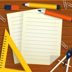 School background with stationery, paper sheets and place for te