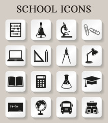 School and education icons. Vector set.