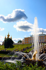 Fountains and a large cascade in Peterhof