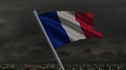 Looping national flag of France animation with sky background