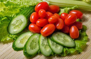 Lettuce, cucumber, tomato and celery