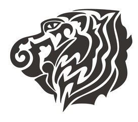 Tribal tiger head. Black on the white