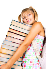 Pretty little schoolgirl with stack of books. Education concept