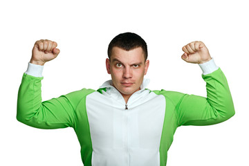 Man shows biceps