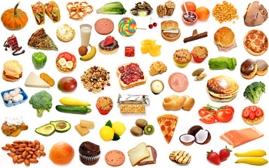 Random Foods Collage Isolated Over White