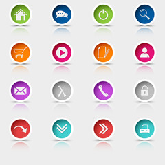 Colored set round web buttons