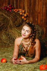 Girl in hayloft