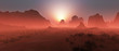 Leinwanddruck Bild - Red rocky desert landscape in the mist at sunset. Panoramic shot