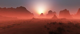 Fotoroleta Red rocky desert landscape in the mist at sunset. Panoramic shot