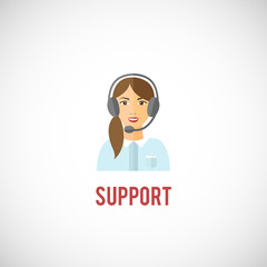Technical support woman icon