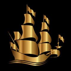 İllüstrasyon Altın Denizcilik İkonu