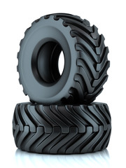 Group of tractor tires isolated 3D