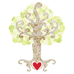 Swirly decorative tree with a red heart