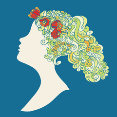 Woman silhouette in profile with swirly hair and red flowers