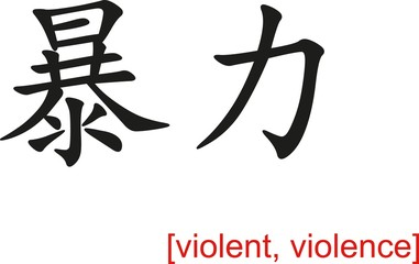Chinese Sign for violent, violence