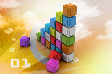 The diagram consisting of several cubes of different colours