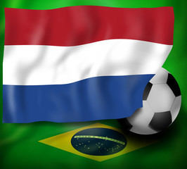 Netherland Flag And Brazil Background Flag