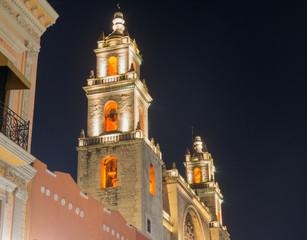 Merida Cathedral at Night