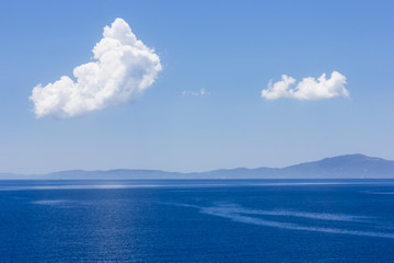 Beautiful background from sea, sky and clouds