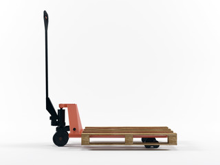 Pallet truck stacked with pallet isolated on white