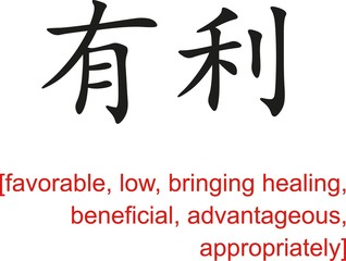 Chinese Sign for favorable, low, bringing healing, beneficial