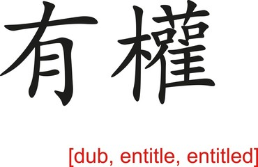 Chinese Sign for dub, entitle, entitled