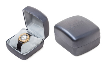 Wristwatch on box, isolated