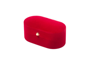 Red ring box, gift, isolated