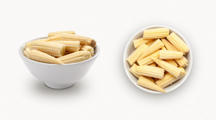 fresh baby corn on a white background
