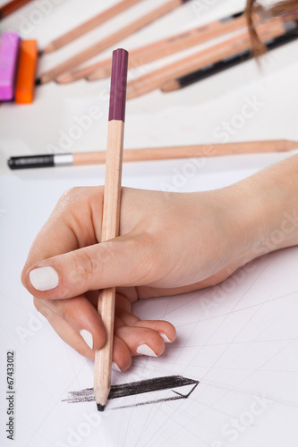 canvas print picture Closeup of woman's hand drawing