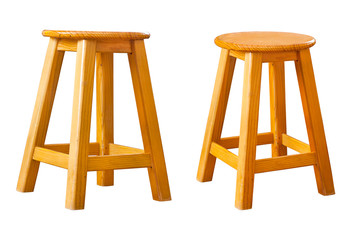 Set of wooden stool, clipping path, isolated