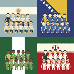Football team and flag, Group F