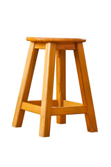 wooden stool, clipping path, isolated