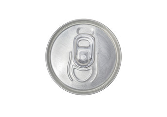 Tin can top view, clipping path, isolated