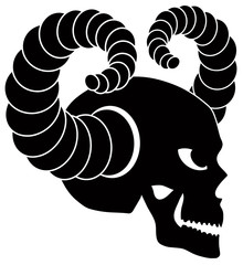 Skull with Horns Vector Illustration