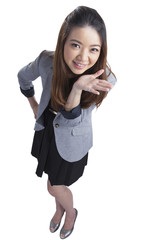 Funny Business woman shrugging isolated