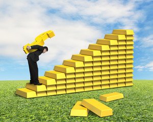 Carrying golden money symbol on gold stairs