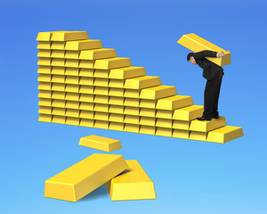 Carrying bullions on gold stairs isolated in blue