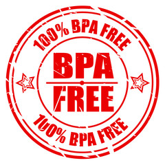 100 PERCENT BPA FREE red stamp text
