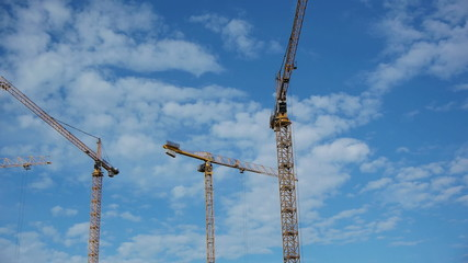 Timelapse: Three hoisting cranes